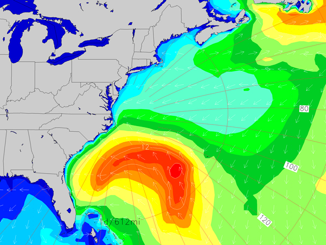 Lola Wave Height Forecast For Friday Shows The Low Pressure Before It Lifts North Generating E Se Windswell Swell For The East Coast