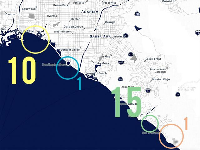 27 Separate Shark Sightings on Wednesday (At Least ... on santa ana california map, orange california map, malibu california map, irvine california map, bay area california map, seattle washington map, fresno california map, los angeles california map, santa barbara map, california beaches map, san diego california map, monterey california map, palm springs california map, san jose california map, bakersfield california map, san pedro california map, mapquest california map, la california map, lawndale california map, fullerton california map,
