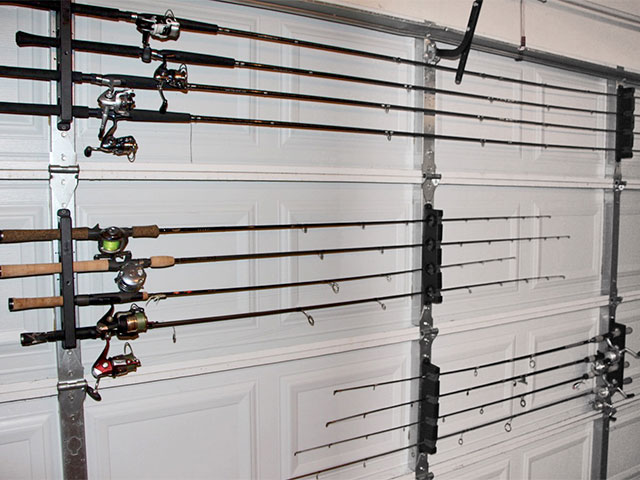 Using The Berkley Twist Lock Horizontal Rod Rack You Can Build A System For Your Garage Door That Will Keep Fishing Rods Out Of Harm S Way And